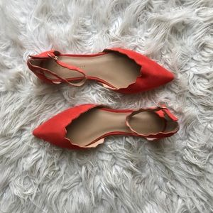 Anthropologie Scalloped D'Orsay Pointed Toe Flats